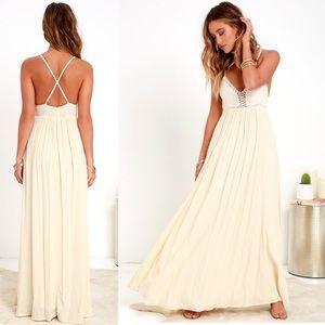 🆕 Lulu's Hippie Hippie Chic Cream Maxi Dress